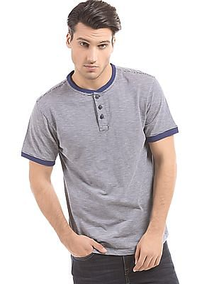 Cherokee Striped Slim Fit Henley T-Shirt