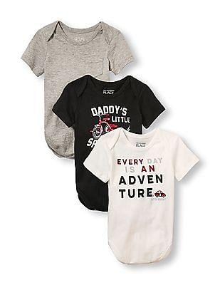 The Children's Place Baby Boys Short Sleeve Adventure Bodysuit 3-Pack
