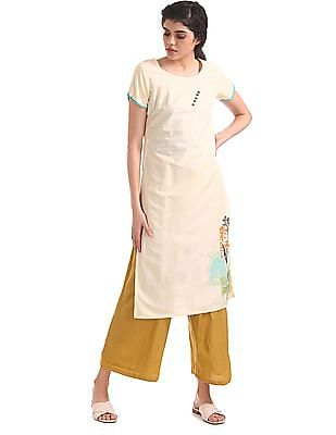 Bronz Regular Fit Embroidered Palazzos