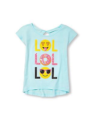 The Children's Place Girls Short Sleeve Embellished Graphic Open-Back Top