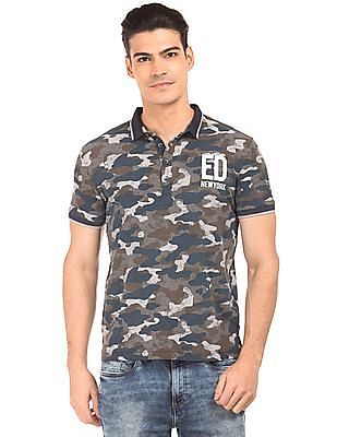 Ed Hardy Camouflage Printed Slim Fit Polo Shirt