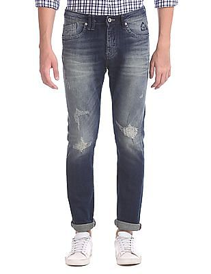 Flying Machine Michael Slim Tapered Distressed Jeans