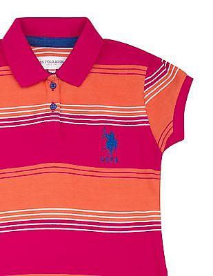 U.S. Polo Assn. Kids Girls Striped Cotton Pique Polo Dress