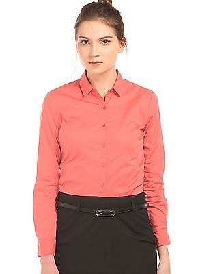 b87524ac2 Buy Women Regular Fit Cotton Lycra Shirt online at NNNOW.com
