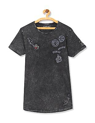 Ed Hardy Contrast Applique Washed T-Shirt