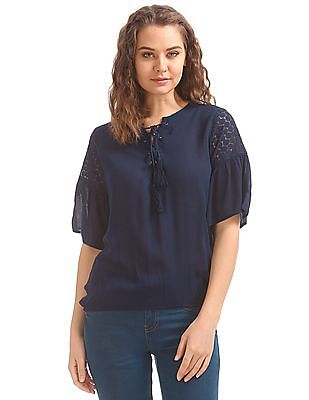 SUGR Bell Sleeve Lace Up Top