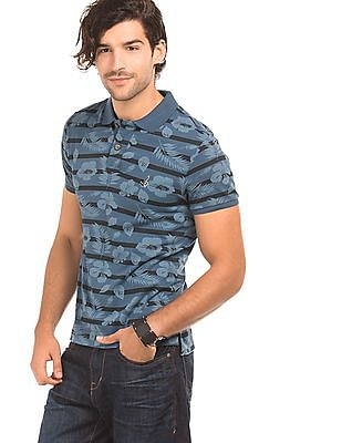 Bayisland Floral Print Slim Fit Polo Shirt