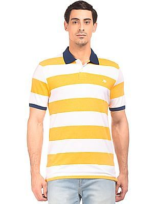 Aeropostale Contrast Collar Striped Polo Shirt