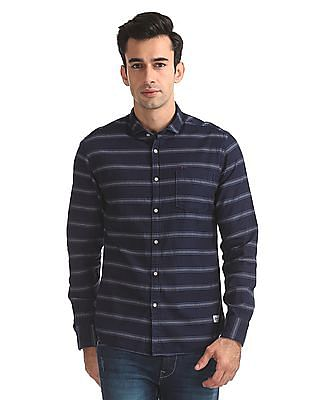 Flying Machine Skinny Fit Patterned Stripe Shirt