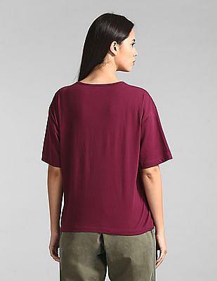 GAP Women Purple Sequin Logo Boxy T-Shirt