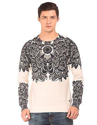 Ed Hardy Printed Round Neck Sweater