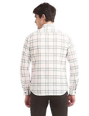 Flying Machine White Mitered Cuff Check Shirt