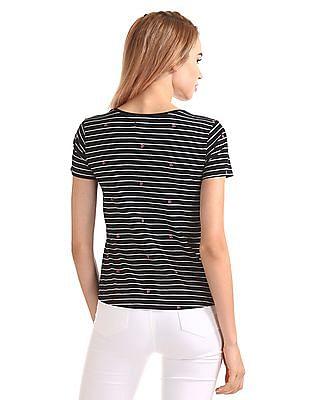 Flying Machine Women Striped Round Neck T-Shirt
