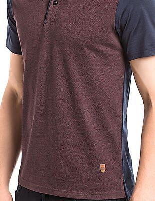 True Blue Colour Block Regular Fit Polo Shirt