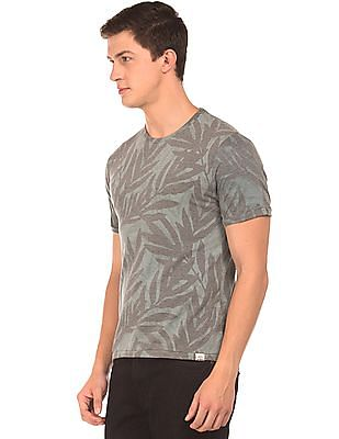 Cherokee Tropical Print Round Neck T-Shirt