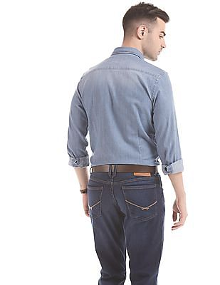 U.S. Polo Assn. Denim Co. Solid Slim Fit Chambray Shirt