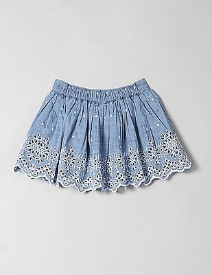 GAP Girls Chambray Eyelet Flippy Skirt
