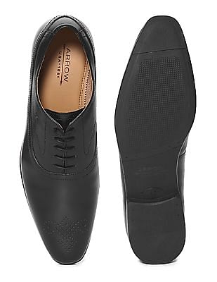 Arrow Black Perforated Oxford Shoes