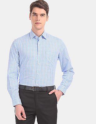 Arvind Men Blue And White Patch Pocket Check Formal Shirt