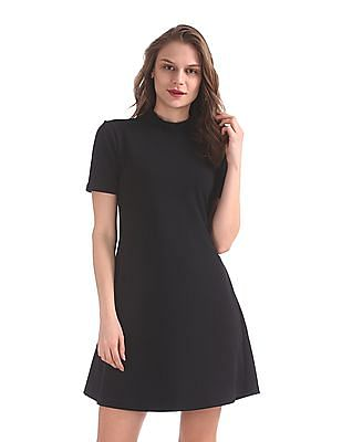 Flying Machine Women Band Neck A-Line Dress