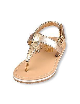 The Children's Place Toddler Girl Gold Glitter T-Strap Slide Seaside Flip-Flops