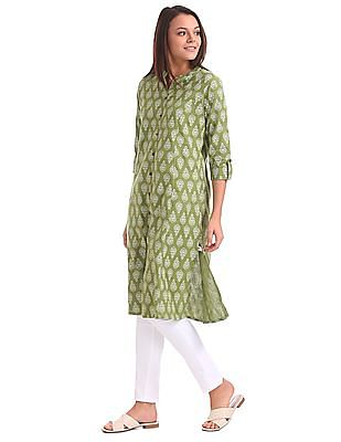 Karigari Mock Placket Printed Kurta
