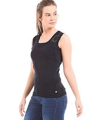 U.S. Polo Assn. Women Lace Trim Sleeveless Top