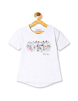 Cherokee Girls Printed Heathered T-Shirt