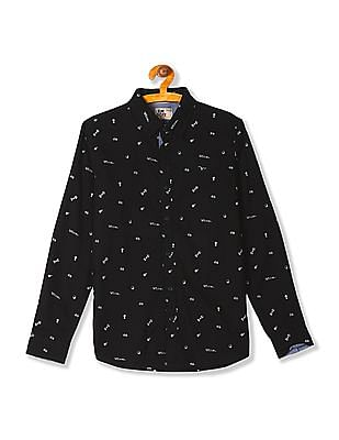 FM Boys Printed Long Sleeve Shirt