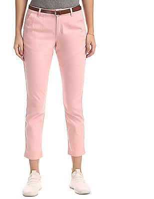 Cherokee Pink Mid Rise Belted Trousers