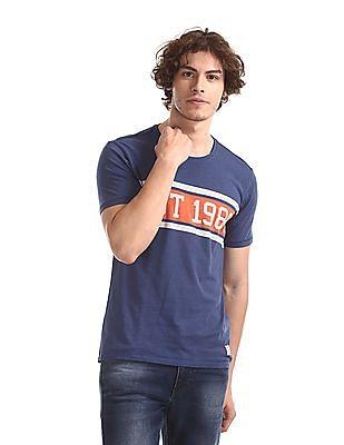 Flying Machine Blue Printed Slub Cotton T-Shirt
