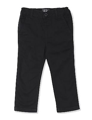 The Children's Place Baby Boy Black Skinny Fit Solid Chinos