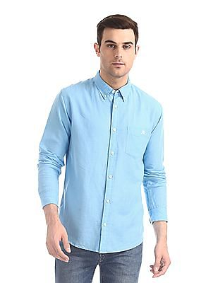 Aeropostale Blue Button Down Collar Cotton Linen Shirt