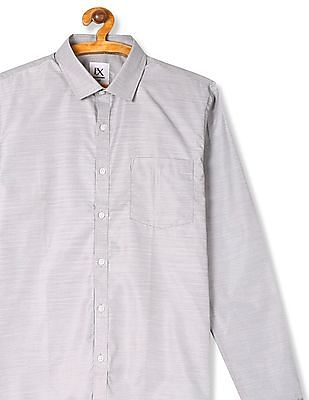 Excalibur Grey Semi Cutaway Collar Patterned Shirt
