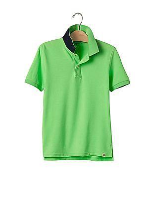 GAP Boys Green Neon Pop Up Polo