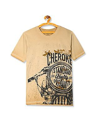 Cherokee Crew Neck Contrast Print T-Shirt