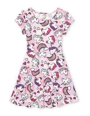 The Children's Place Pink Girls Short Sleeve Print Knit Dress