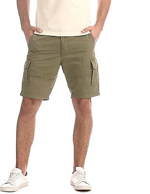 Flying Machine Green Solid Cargo Shorts