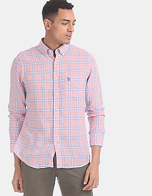 U.S. Polo Assn. Men Pink And Blue Check Linen Casual Shirt