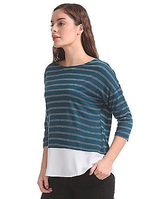 Elle Studio Dolman Sleeves Striped Top