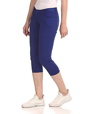 Flying Machine Women Mid Rise Solid Cropped Trousers