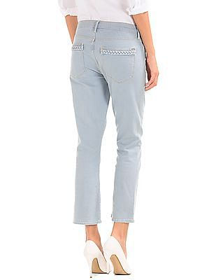 GAP Women Blue Authentic 1969 Braid Crop Kick Jeans