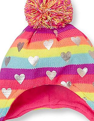 The Children's Place Toddler Girl Heart Print Neon Rainbow Stripe Hat And Mittens Set