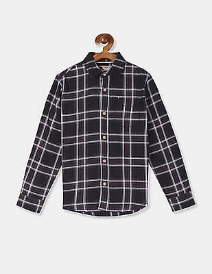 FM Boys Black Spread Collar Check Shirt