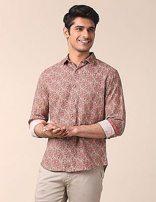 True Blue Semi Cutaway Collar Printed Shirt
