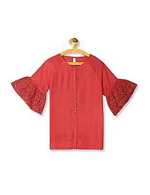 U.S. Polo Assn. Kids Girls Bell Sleeve Button Down Top