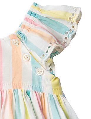 GAP Baby Multi Colour Pastel Stripe Eyelet Flutter Top