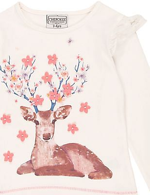 Cherokee Girls Deer Print Lace Trim Top