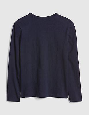GAP Toddler Boy Blue Camo Logo Long Sleeve T-Shirt