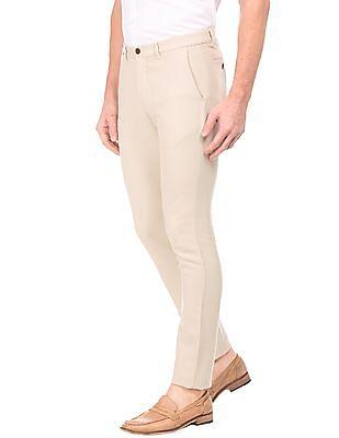 Arrow Sports Slim Fit Slubbed Trousers